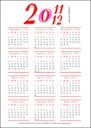 Calendrier scolaire 2011 2012 à imprimer pdf gratuit de septembre 2011 à AOUT 2012 annuel imprimable pdf gratuitement