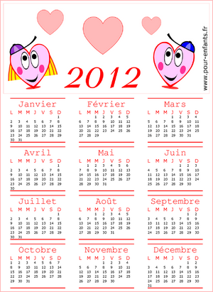 calendrier annuel 2012 pdf gratuit à imprimer avec les 12 mois de l'année 2012 de janvier à décembre (an 2012)